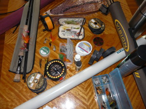 Some rods, reels, tippet and big flies